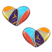 Sterling Silver Heart Earrings Multi Gemstones E1265-C01