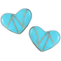 Sterling Silver Heart Earrings Turquoise E1265-C05