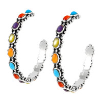 Sterling Silver Hoop Earrings Multi Gemstones E1266-C71