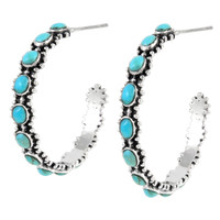 Sterling Silver Hoop Earrings Turquoise E1266-C75