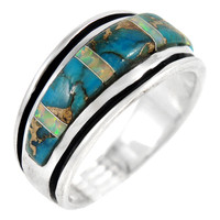 Sterling Silver Mens or Ladys Ring Turquoise R2024-C84