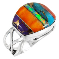 Multi Gemstone Ring Sterling Silver R2430-C00