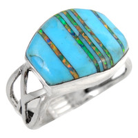 Sterling Silver Ring Turquoise & Opal R2430-C21