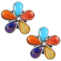 Sterling Silver Earrings Multi-Gemstones E1272-C71