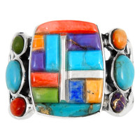 Sterling Silver Ring Multi Gemstone R2435-C51