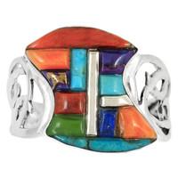 Sterling Silver Ring Multi Gemstone R2436-C51