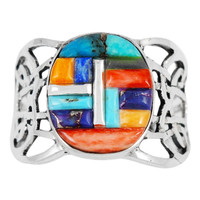 Multi Gemstone Ring Sterling Silver R2437-C51