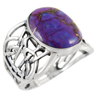 Sterling Silver Ring Purple Turquoise R2437-C77