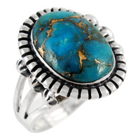 Sterling Silver Ring Matrix Turquoise R2438-C84