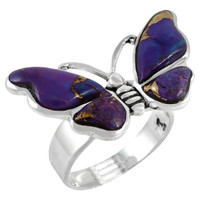 Sterling Silver Ring Butterfly Purple Turquoise R2439-C77