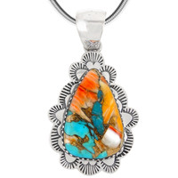 Sterling Silver Pendant Spiny Turquoise P3261-C89