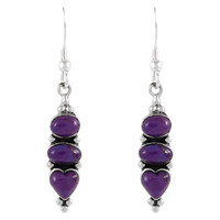 Sterling Silver Earrings Purple Turquoise E1278-C77