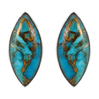Sterling Silver Earrings Matrix Turquoise E1275-C84