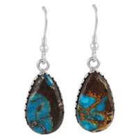 Sterling Silver Earrings Lava Rock Turquoise E1261-C95
