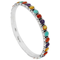 Sterling Silver Bangle Bracelet Multi Gemstone B5551B-C71