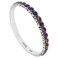 Sterling Silver Bangle Bracelet Purple Turquoise B5551B-C77
