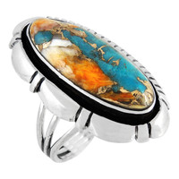 Sterling Silver Ring Spiny Turquoise R2380-C89