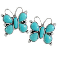 Sterling Silver Butterfly Earrings Turquoise E1279-C75