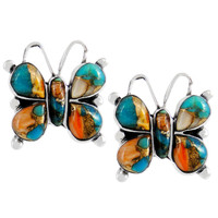 Sterling Silver Butterfly Earrings Spiny Turquoise E1279-C89