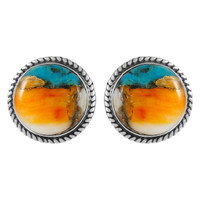 Sterling Silver Earrings Spiny Turquoise E1262-C89
