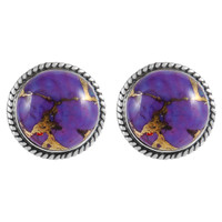 Sterling Silver Earrings Purple Turquoise E1262-C77