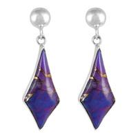 Sterling Silver Earrings Purple Turquoise E1277-C77
