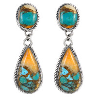 Sterling Silver Earrings Spiny Turquoise E1247-C89