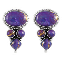 Sterling Silver Earrings Purple Turquoise E1280-C77
