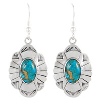 Sterling Silver Earrings Matrix Turquoise E1281-C84