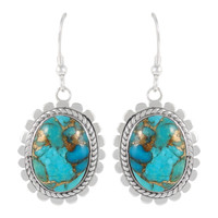 Sterling Silver Earrings Matrix Turquoise E1282-C84