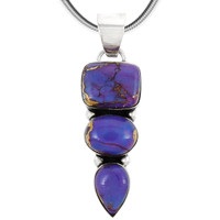 Sterling Silver Pendant Purple Turquoise P3271-C77