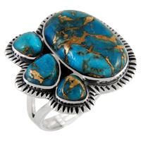 Sterling Silver Ring Matrix Turquoise R2441-C84