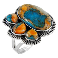 Sterling Silver Ring Spiny Turquoise R2441-C89