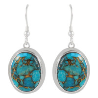 Sterling Silver Earrings Matrix Turquoise E1283-C84