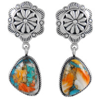 Sterling Silver Earrings Spiny Turquoise E1220-C89