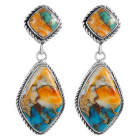 Sterling Silver Earrings Spiny Turquoise E1284-C89