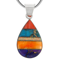 Sterling Silver Pendant Multi Gemstone P3270-C00
