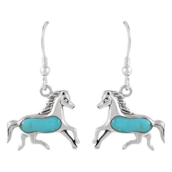Sterling Silver Horse Earrings Turquoise E1053 C75