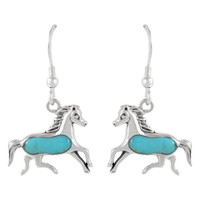 Sterling Silver Horse Earrings Turquoise E1053-C75