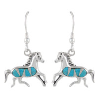 Sterling Silver Horse Earrings Turquoise E1053-C05