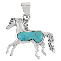 Sterling Silver Horse Pendant Turquoise P3002-C75