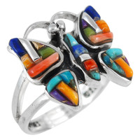 Butterfly Ring Sterling Silver Multi Gemstone R2037-C51