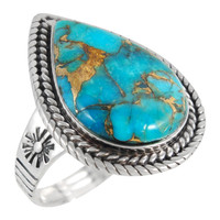Sterling Silver Ring Matrix Turquoise R2443-C84