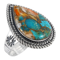 Sterling Silver Ring Spiny Turquoise R2443-C89