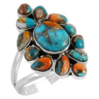 Sterling Silver Ring Spiny Turquoise R2445-C89