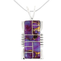 Sterling Silver Pendant Purple Turquoise P3044-C07