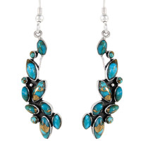 Sterling Silver Earrings Matrix Turquoise E1251-C84
