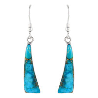Sterling Silver Earrings Matrix Turquoise E1289-C84