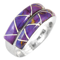 Sterling Silver Ring Purple Turquoise R2446-C07