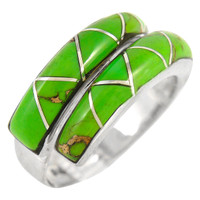 Sterling Silver Ring Green Turquoise R2446-C06